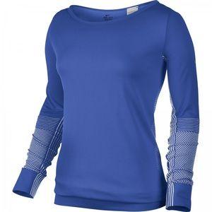 Nike Dri-Fit Knit Crew Running L/S Top Blue XS